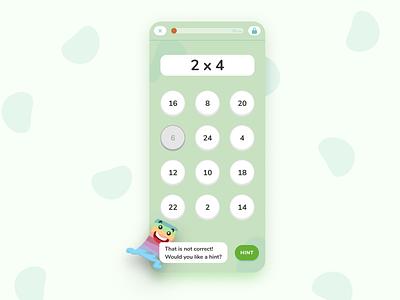Digital Playground Snippet children ux ui mobile math illustration exercise education design character calculator app