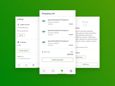 Android App Screens settings cart shopping cart marketplace android mobile paper green ux ui product app