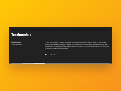 Testimonials Snippet web typography simple retro slide orange website landing page snippet ui testimonials