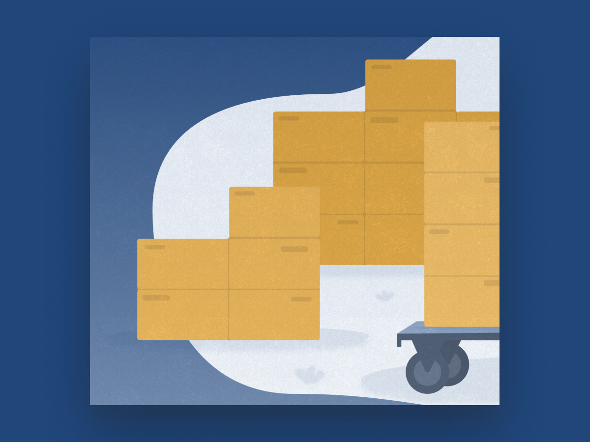 Landing Page Illustration box grain noise blob parcel shipping illustration ui snippet design