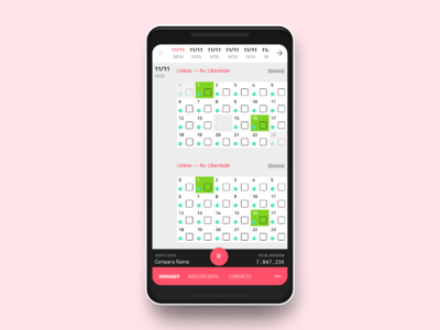 Mobile Booking UI pink mobile calendar reservation booking snippet website flat app ux ui design