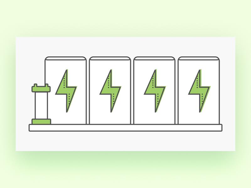 Power Illustration green production energy power clean flat web app icon vector design illustration