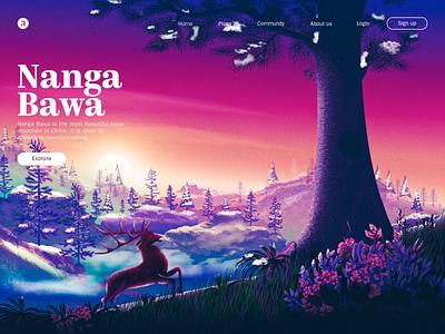 Nanga Bawa illustratioin outdoor mist grass pine forest flower snow tree bird deer lake water website flat environment mountain landscape illustration illustration