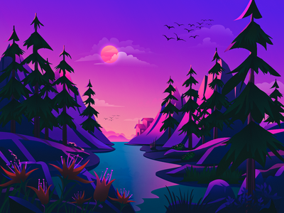 Mystery flat moon flower pine wallpaper lake mountain environment website web landscape illustration illustration