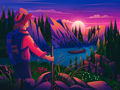 Explore unknown future purple flat wallpaper forest game moon character adventure water lake boat website mountain environment illustration landscape illustration