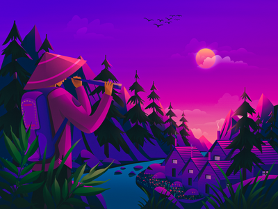 Explore unknown landscape tree sunset sunrise natural purple river forest traveller evening morning travel vector magazine cover wallpaper package nature illustration illustration