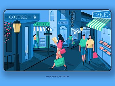 Shopping trade holiday fashion game city shopping center shopping girl town street trading character shopping web illustration