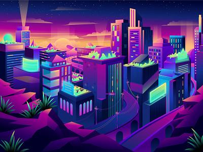Mysterious and dreamy city city landscape illustration web illustration