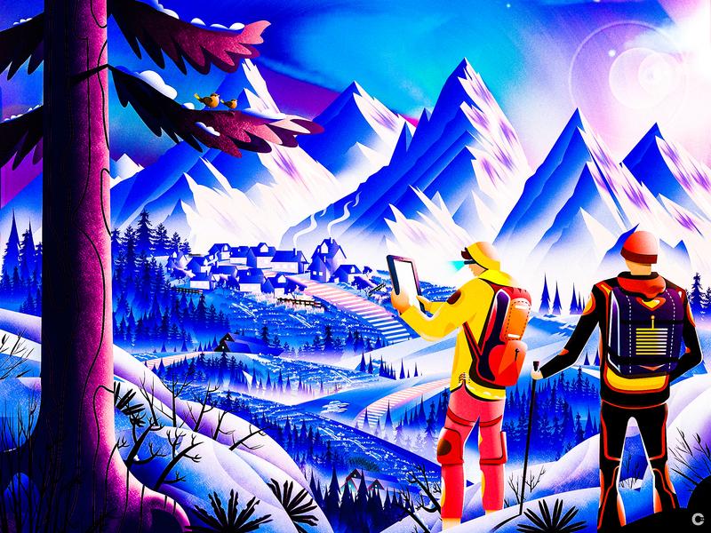 Explore unknown mountain climbers calm environment climbing mountain landscape illustration illustration