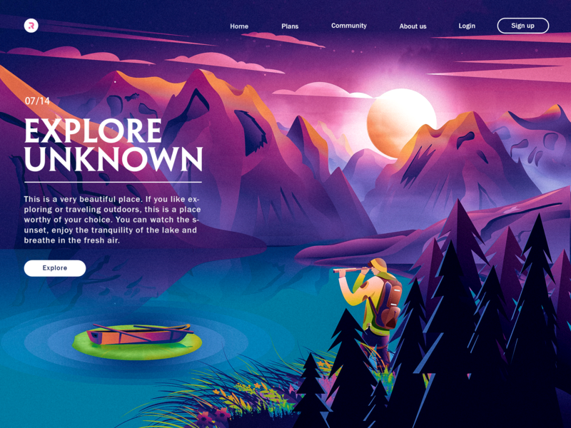 Explore unknown website design moonlight calm water boat flat environment ui mountain landscape illustration web illustration