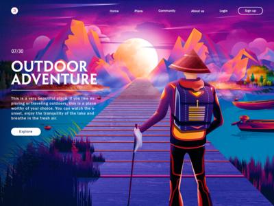 Landscape illustration-Outdoor adventure