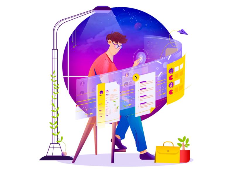 Workspace illustration 02 workspace sky environment ui calm web resume design flat illustration