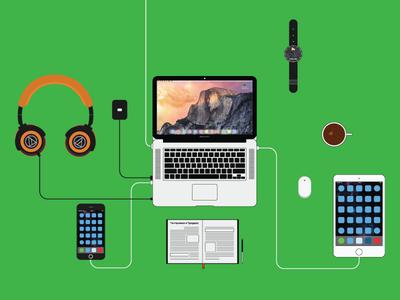 My Dream Workplace debut dream workplace macbook iphone ipad coffee iwatch journal headphones