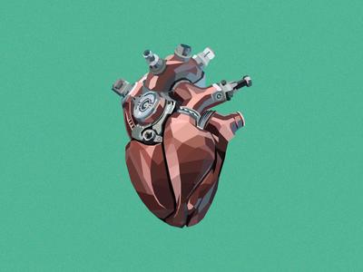 Mechanical Heart mechanical heart low poly flat