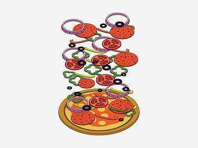 Pizza Secrets olives tomatoes cheese capsicum onions isometric secrets pizza