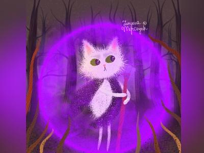 The young sorcerer fantasy wizard cat illustration cute animal art animal illustration digital 2d digital 2d art 2d