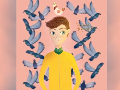 Walter Beckett portrait portrait illustration boy fanart pigeons cute illustration digital 2d digital 2d art 2d