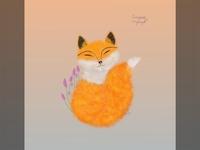 Spring fox illustration