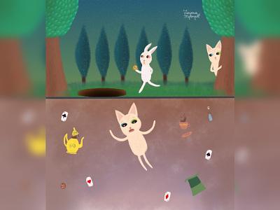Through the portal cute animal art alice in wonderland cat illustration animal illustration digital 2d digital 2d art 2d