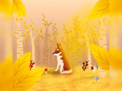 Autumn doggo husky dog illustration cute animal art animal illustration digital 2d digital 2d art 2d