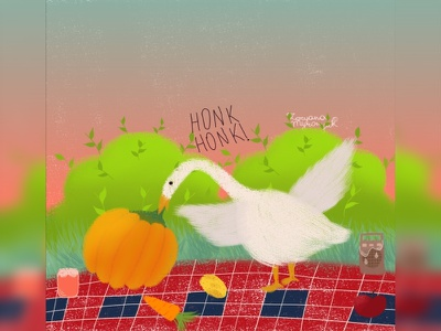 Honk honk, I'm goose picnic cute videogame goose animal art animal illustration digital 2d digital 2d art 2d
