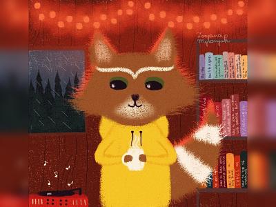 Chilling raccoon hygge rain warm cabin raccoon cute animal art animal illustration digital 2d digital 2d art 2d