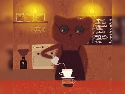 Bearista coffeeshop coffee barista bear illustration bear cute animal art animal illustration digital 2d digital 2d art 2d