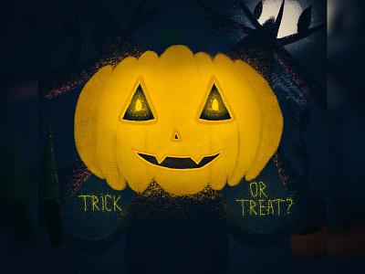 Trick or treat? pumpkin jack o lantern spooky halloween cat illustration animal art animal illustration digital 2d digital 2d art 2d