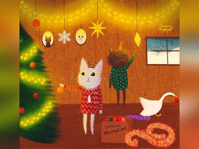 Decorating the house cat cat illustration cute animal art animal illustration digital 2d digital 2d art 2d