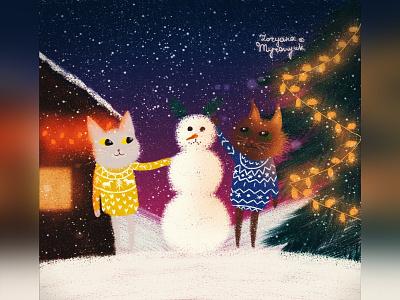 Making a snowman christmas cat illustration cute animal art animal illustration digital 2d digital 2d art 2d