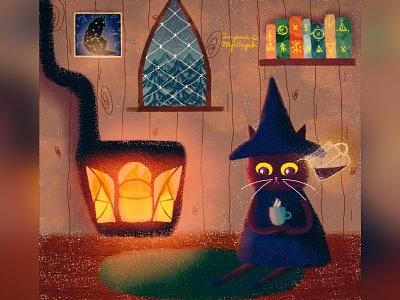The magician wizard magic cat illustration cute animal art animal illustration digital 2d digital 2d art 2d