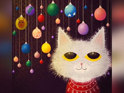 Ornaments christmas cat illustration cute animal art animal illustration digital 2d digital 2d art 2d