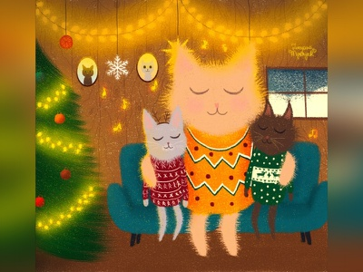 Big brother christmas cat illustration cute animal art animal illustration digital 2d digital 2d art 2d