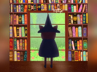 The library books wizard magic cat illustration cute animal art animal illustration digital 2d digital 2d art 2d