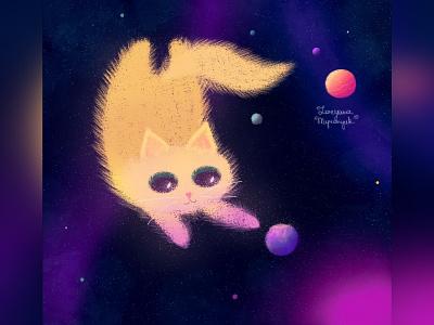 Spacecat space cat cat illustration cute animal art animal illustration digital 2d digital 2d art 2d