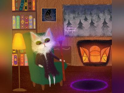 The old sorcerer wizard magic fantasyart cat illustration cute animal art animal illustration digital 2d digital 2d art 2d