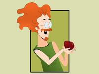 Holding Apple Illustration