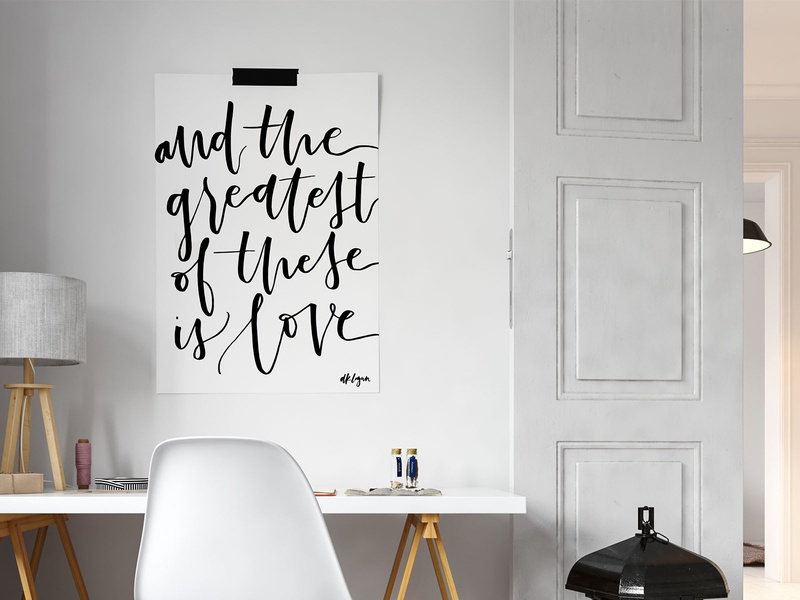 """Love"" Hand-Lettered Poster bible lettering cursive script scripture bible verse 1 corinthians monochromatic black and white poster typography poster typography art typography calligraphy hand lettering love"