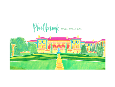 Philbrook Illustration building green drawing hand drawn handlettering neon abstract bright illustration watercolor architectural design architecture art museum museum illustration