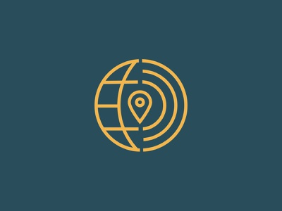 GV Icon gps line brand yellow blue circle map pin pindrop earthy world globe logo icon