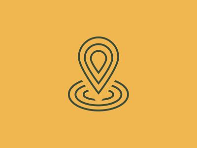 GV Icon simple minimalist green yellow line pindrop pin gps map icon logo branding brand