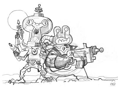 Space Junk Raiders 3 (Sketch) sketch artwork poster alien monster drawing illustration cartoon design character