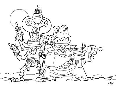 Space Junk Raiders 3 (Ink) space ink artwork alien vector monster drawing illustration cartoon design character