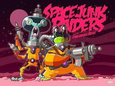 Space Junk Raiders 3 (Final) poster guns scifi space artwork alien vector logo monster drawing illustration cartoon design character