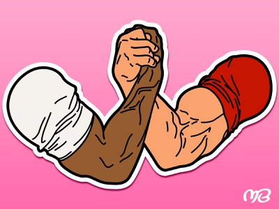 BFF pink predator muscle arms sticker bromance
