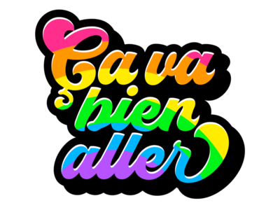 Ça va bien aller vector icon colorful slogan covid-19 rainbow design logo sticker