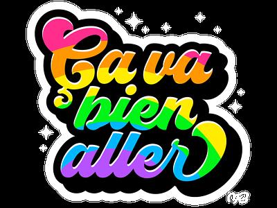 Ça va bien aller vector icon colorful slogan covid-19 rainbow design logo sticker