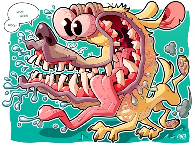Un chien fou yellow turquoise crazy dog vector drawing illustrator illustration cartoon design character