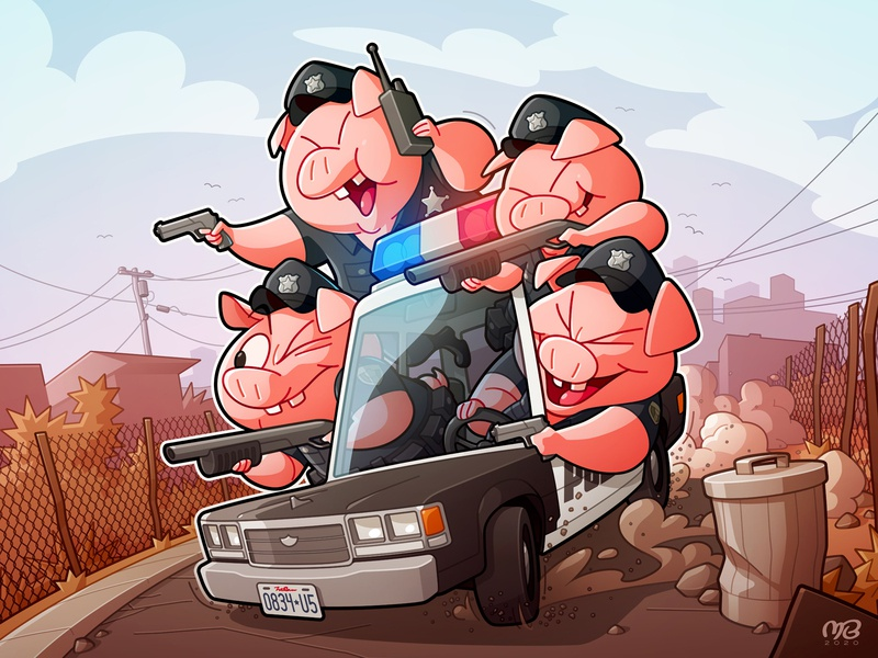 Thugs with Badges drawing design pink city scary car guns character cartoon illustraion piggies cops