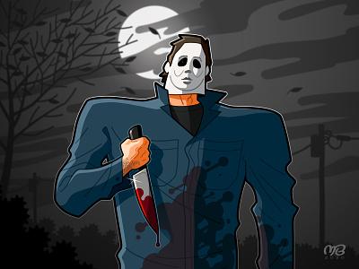 Michael Myers 2020 mathieu beaulieu artwork dark knife michael myers mask killer movie vector fanart halloween monster drawing illustration cartoon design character